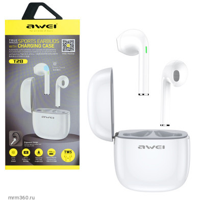 Наушники беспроводные Awei T28 Smart Wireless Bluetooth Earphone (White)